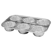 Durable Packaging 6-Cavity Aluminum Foil Cupcake Pan Disposable Muffin Cup Pans (Pack of 50)