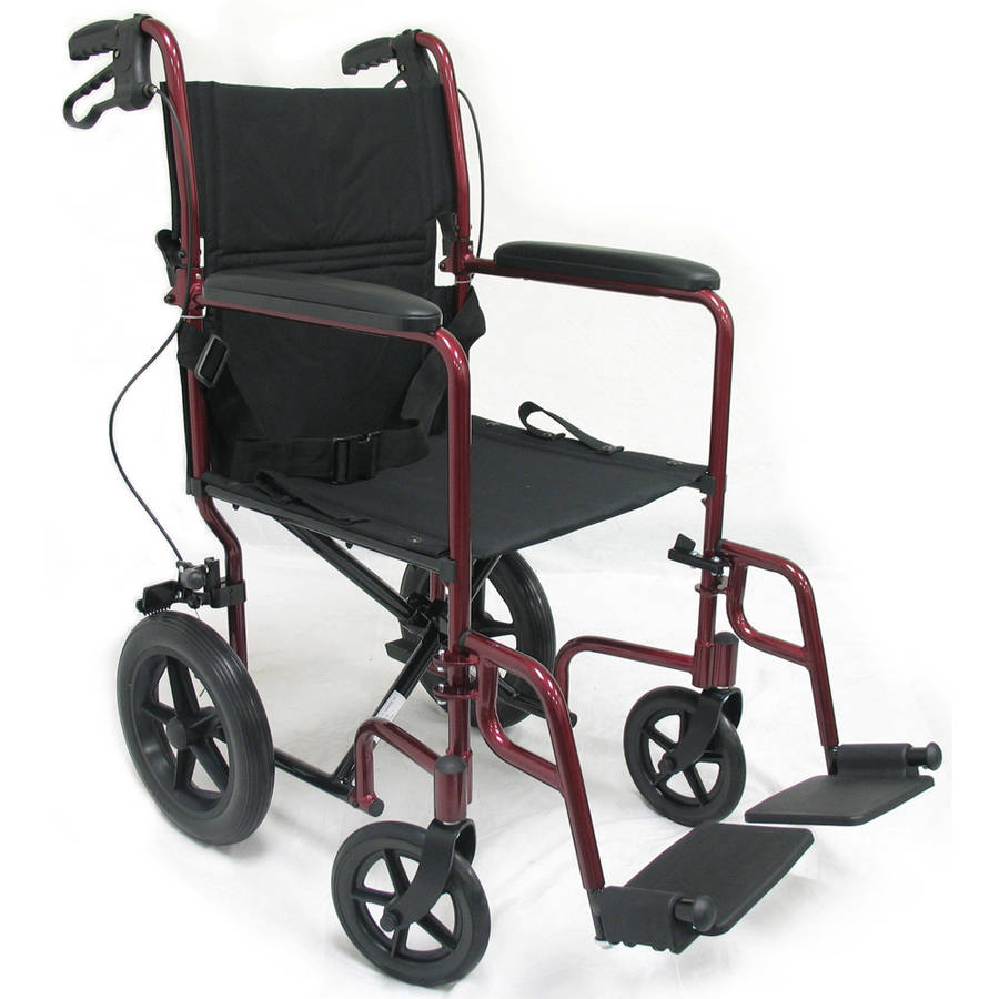 Karman LT-1000HB Lightweight Transport Chair with Companion Brakes, Burgundy