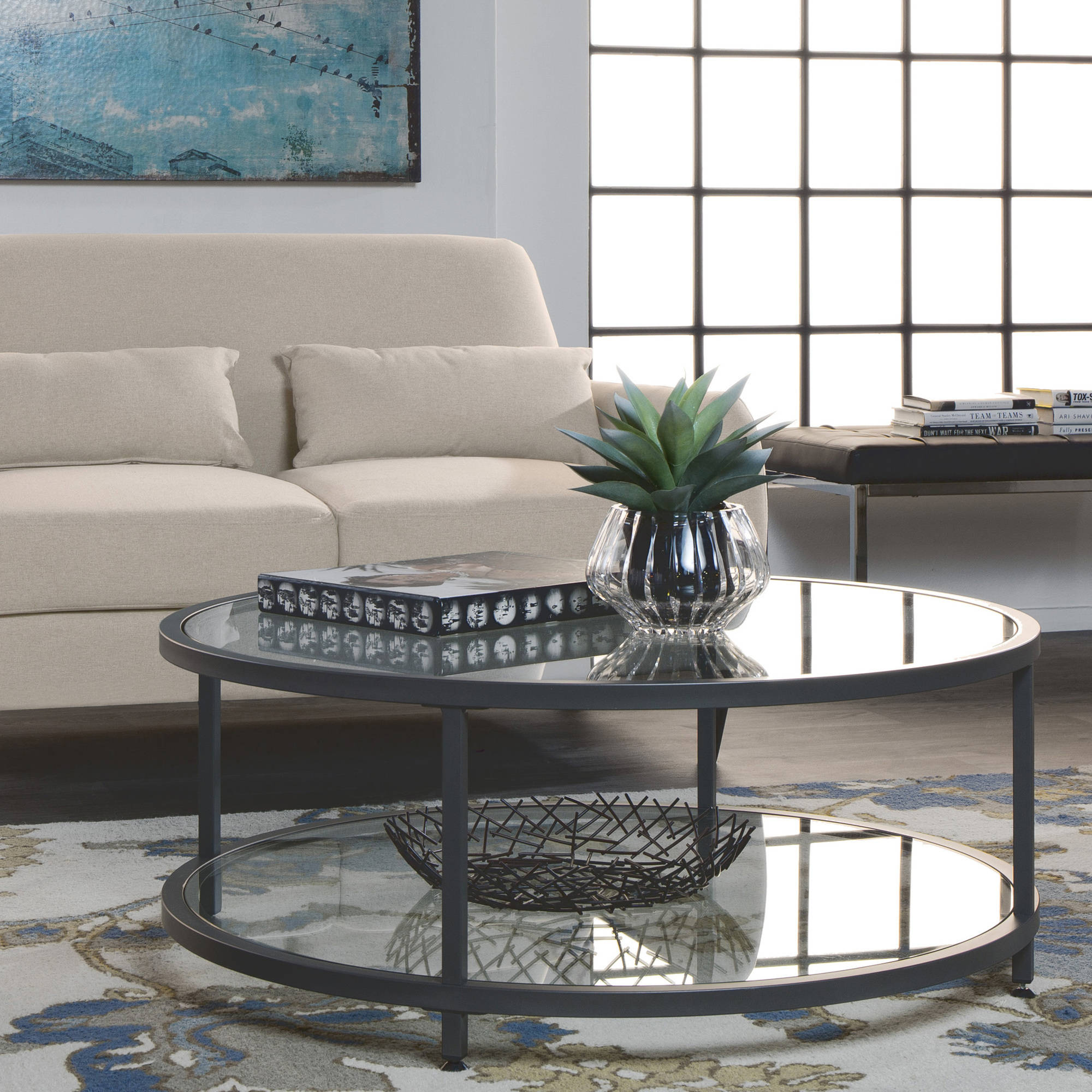 Studio Designs Home Camber Round Coffee Table, Pewter