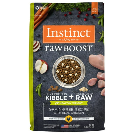 Instinct Raw Boost Healthy Weight Grain-Free Recipe with Real Chicken Natural Dry Dog Food by Nature's Variety, 20 lb. Bag