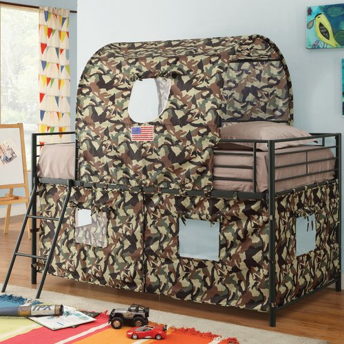 kids bunk bed with stairs grey product image zoomie kids kali camouflage tent twin loft bed beds beds for kids teen walmartcom