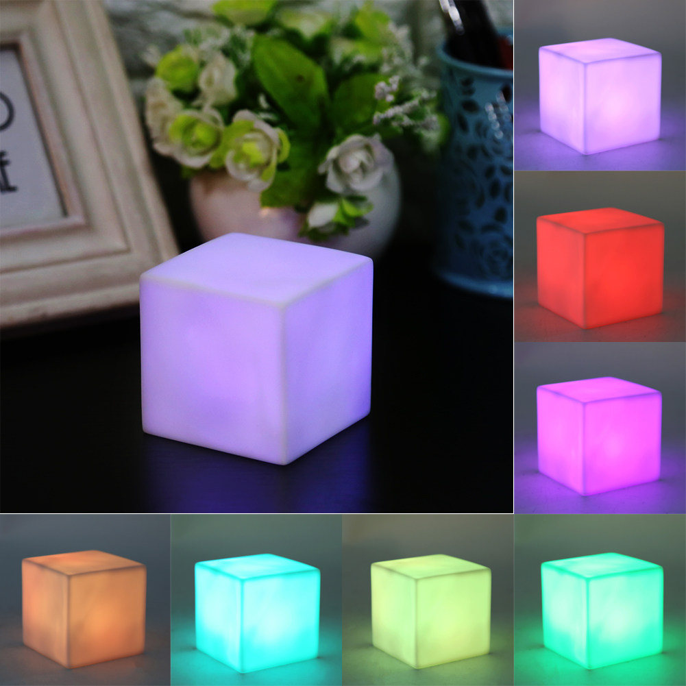 Led Color Changing Mood Cube Night Light Table Lamp Gadget Home
