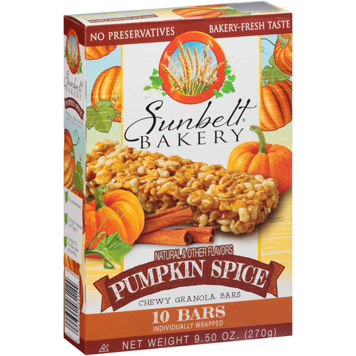 Sunbelt Bakery Pumpkin Spice Chewy Granola Bars, 10 count, 9.5 oz