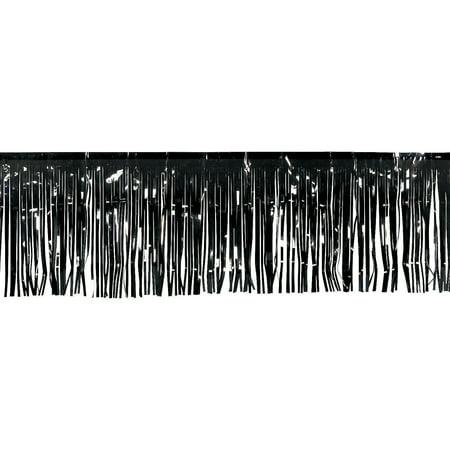Fun Express - Black Metallic Float Fringe (10ft) for Party - Party Decor - Hanging Decor - Misc Hanging Decor - Party - 1 Piece - Parade Float Fringe
