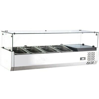 Marchia MTR4, 48″ Refrigerated Countertop Salad Bar – Topping Rail 2 Door Refrigerated Salad Top