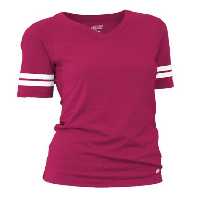 Soffe 239V601XSM Juniors Football Tissue Cotton Tee T-Shirts, Cardinal - Extra Small