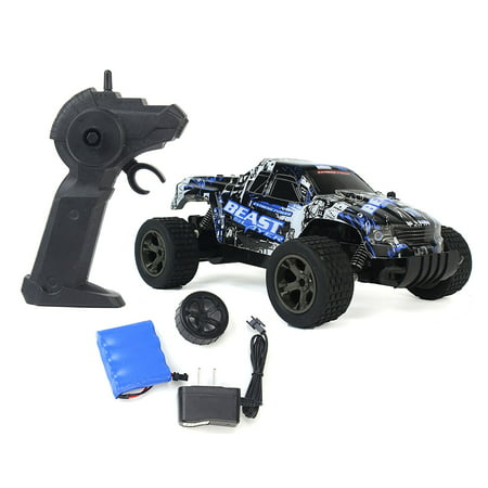 Cheetah King Remote Control Blue Toy Rally Truck RC Car 2.4 GHz 1:18 Scale Size w/ Working Suspension, Spring Shock Absorbers