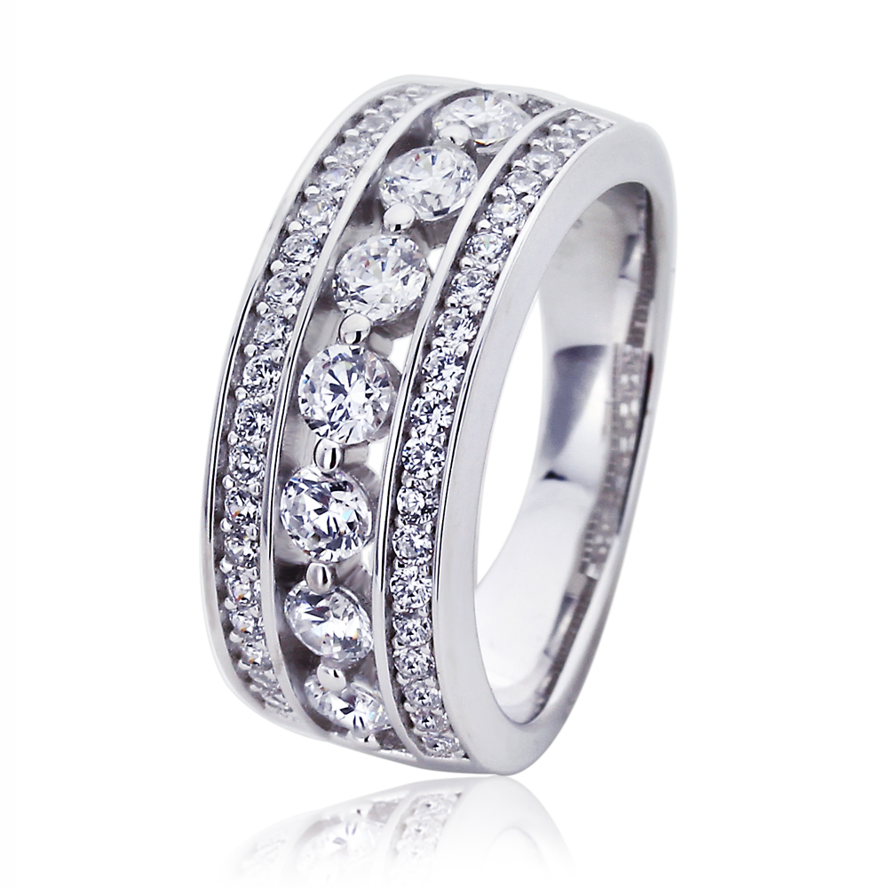 Platinum Plated Sterling Silver 1ct Round Cubic Zirconia Wedding Anniversary Ring ( Size 5 to 9 ), 7 by