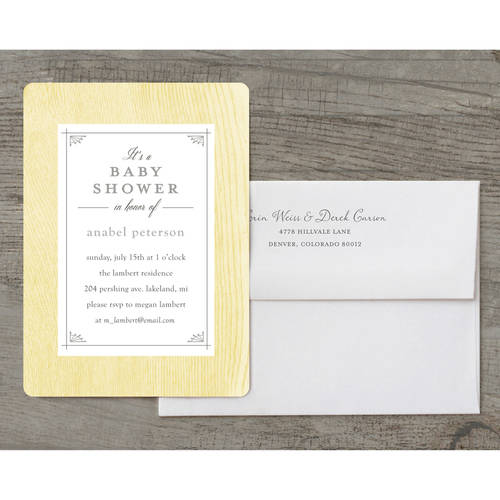 Rustic Frame Deluxe Baby Invitation