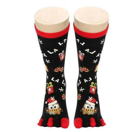 Womens Five Toes Christmas Holiday Socks Knee High Stretchy Crew Socks (Cheap Christmas Socks)