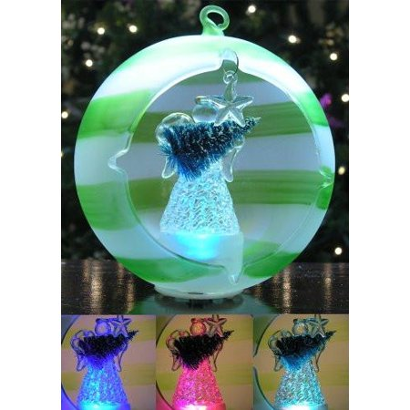 LED Angel Christmas Ornament Glass Globe - Angel and Tree, Hand Painted Green Striped Color-Changing, 5