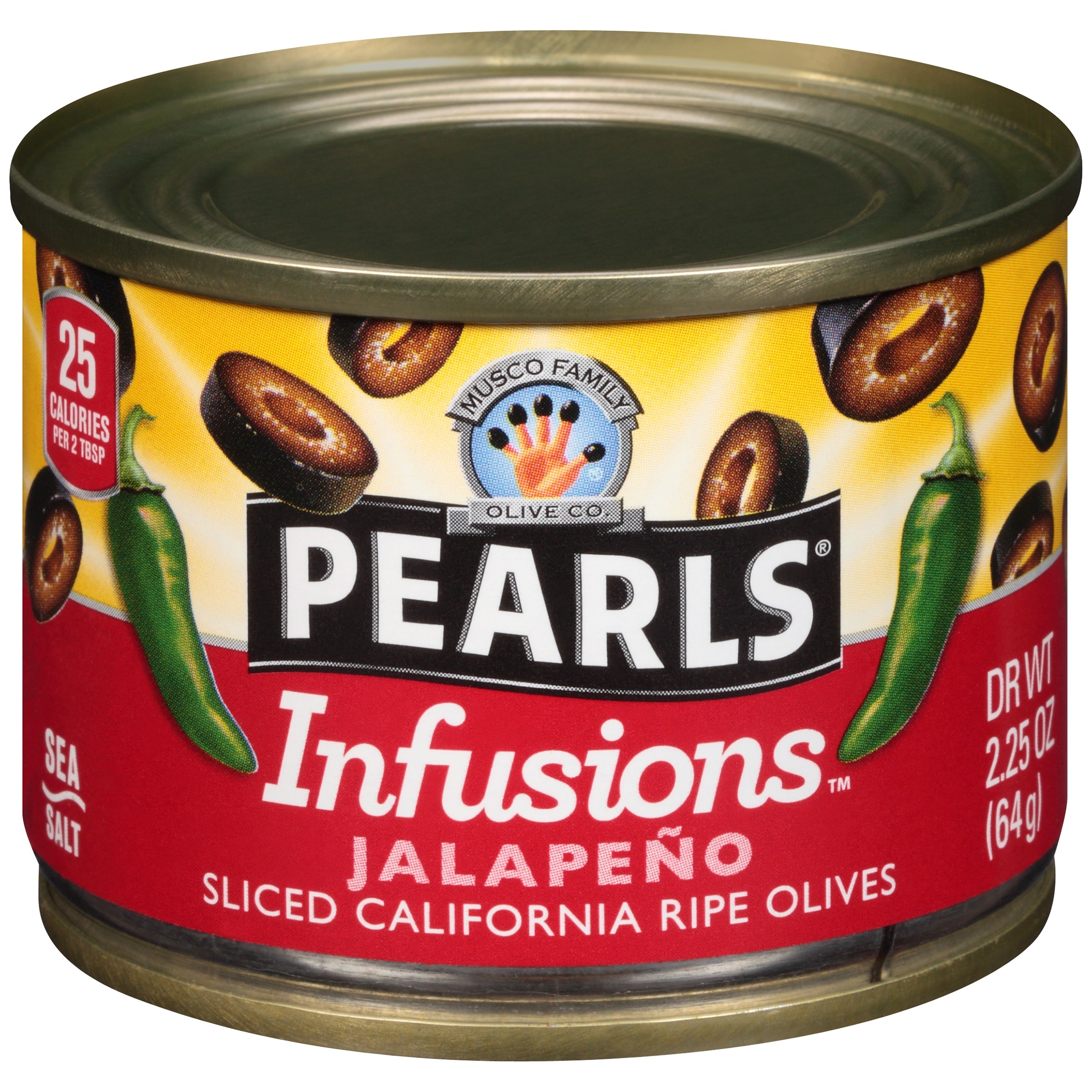 Pearls® Infusions™ Jalapeno Sliced California Ripe Olives 2.25 oz. Can