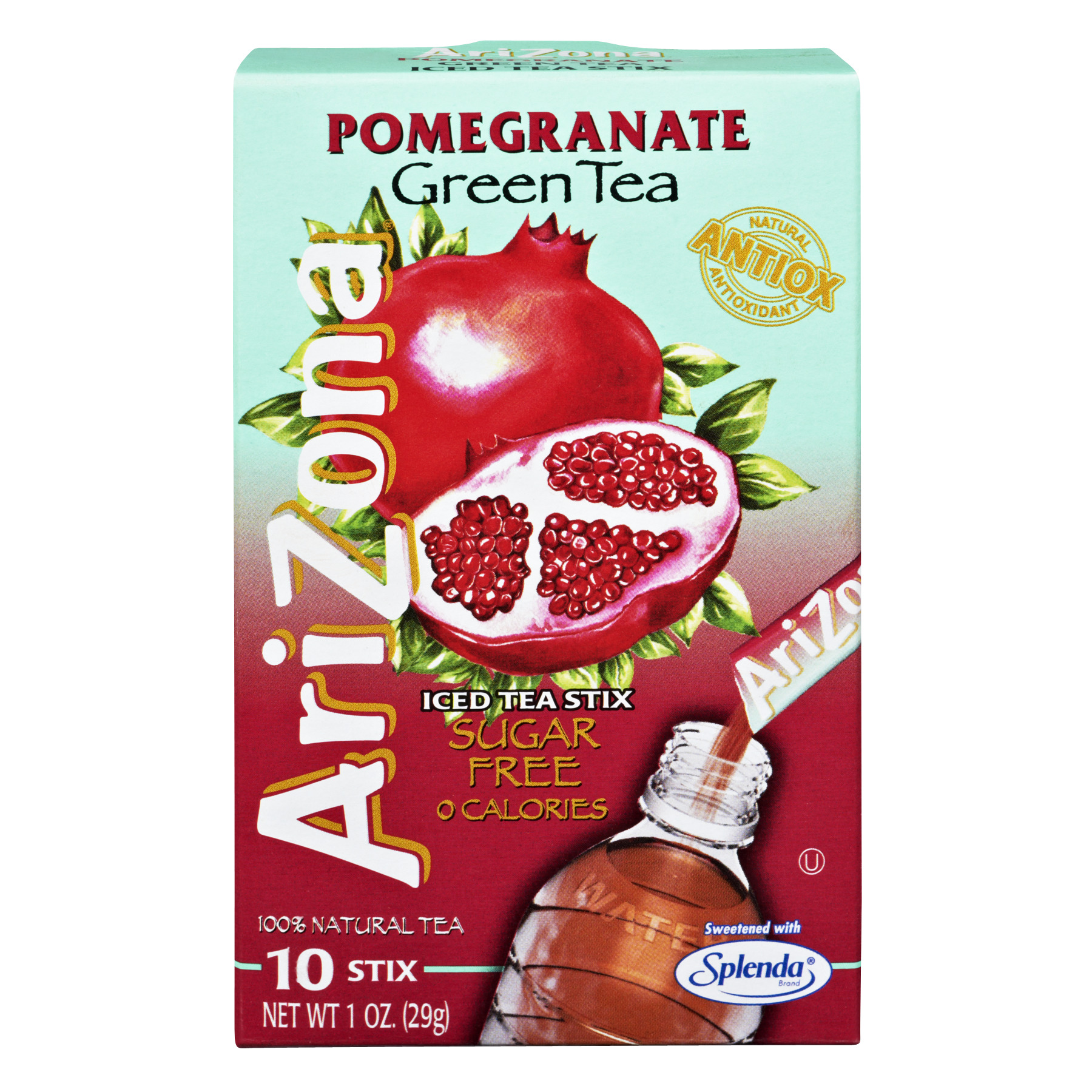 Arizona Pomegranate Green Tea Sugar Free 0 Calories Iced Tea Stix- 10 CT1.0 OZ
