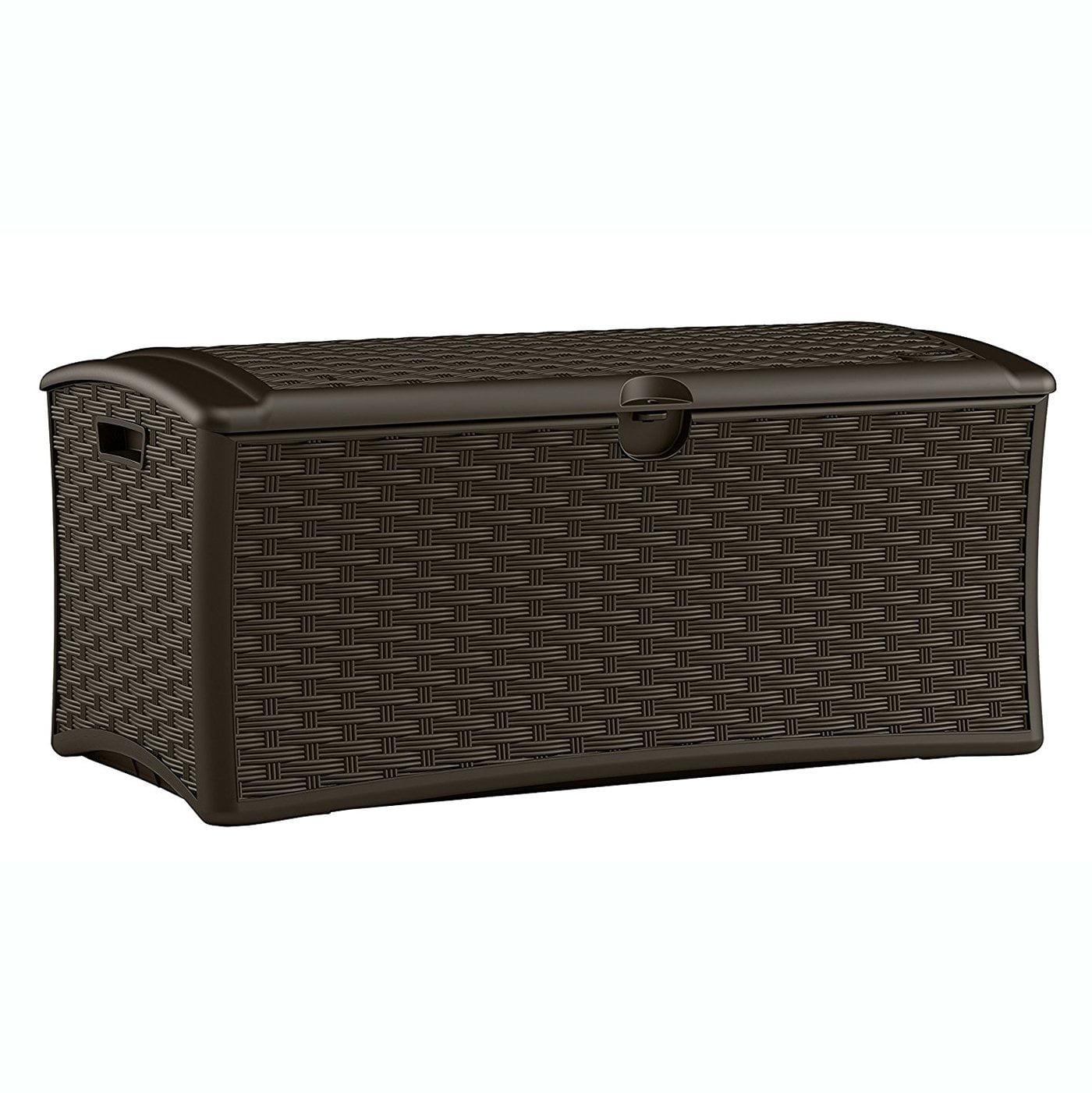 Suncast 72 Gallon Capacity Resin Wicker Outdoor Patio Storage Deck Box, Brown