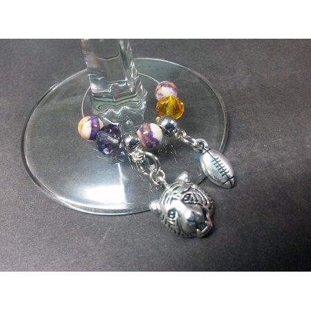 Purple Yellow Louisiana Tiger Football Wine Drink Marker Beaded Charms Glass and Silver WG18 Tigers Glass Mascot Football