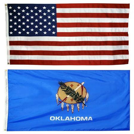 Collins Flags 3' x 5' Nylon US Flag & 3' x 5' Oklahoma Nylon Flag Bundle