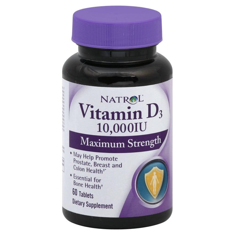 Natrol Vitamin D3 10000 IU Tablets, 60 Ct