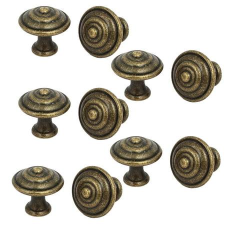 Drawer Closet Single Hole Round Shape Pull Handle Knob Bronze Tone 25x23mm 10pcs
