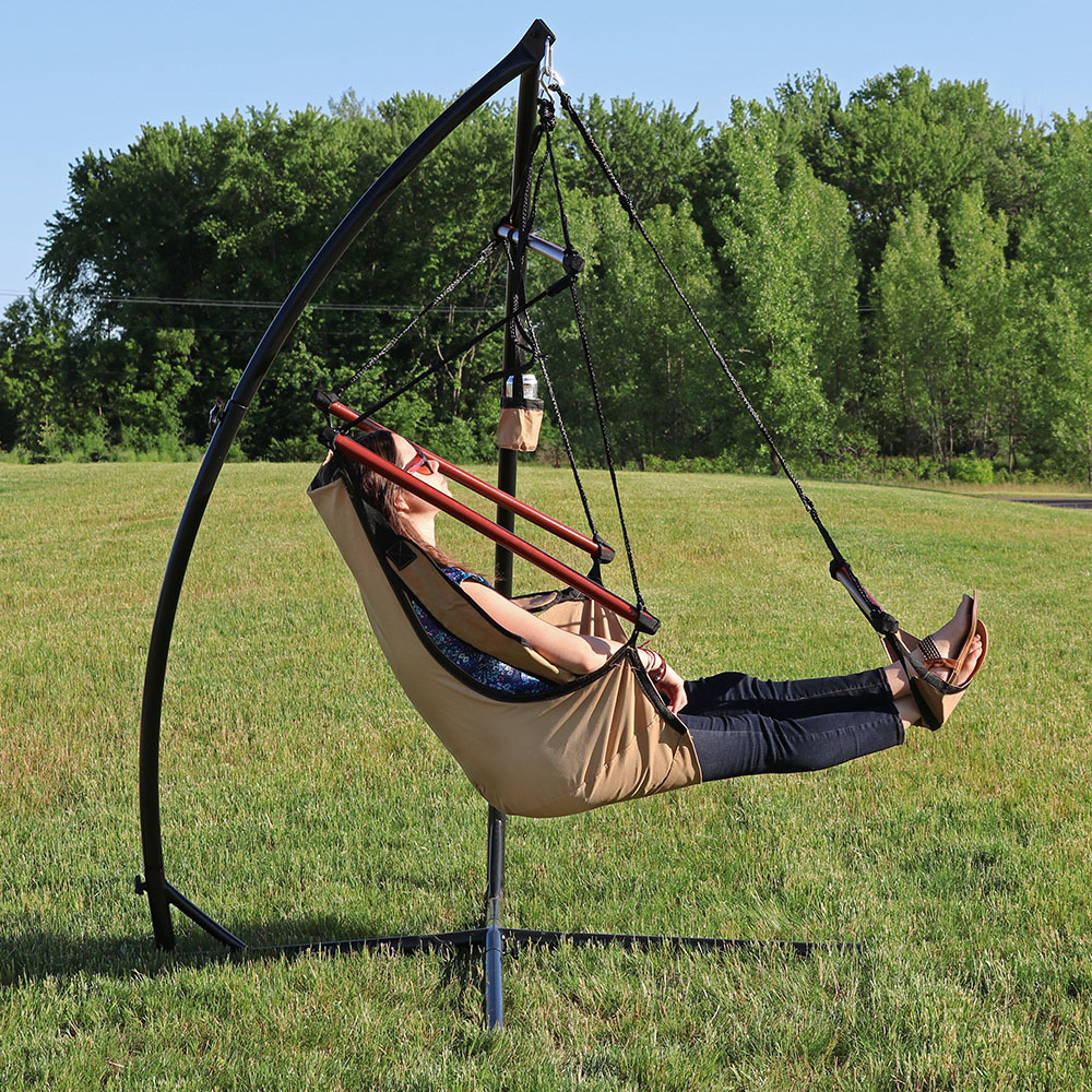 Sunnydaze Hanging Hammock Chair with Pillow, Drink Holder and X-Stand Set, Green, Max Weight: 250 Pounds