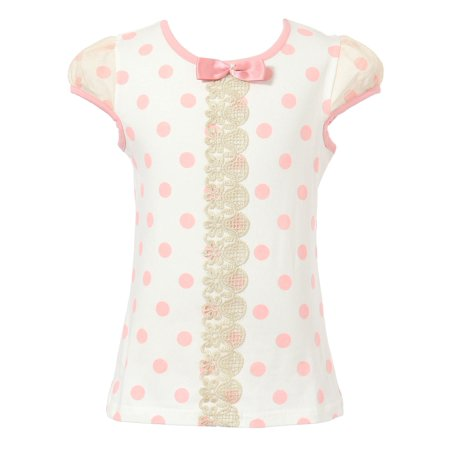 Dot Short Sleeve Shirt (Richie House Girls' Polka Dot Short Sleeve T-shirt with Bow RH1633)