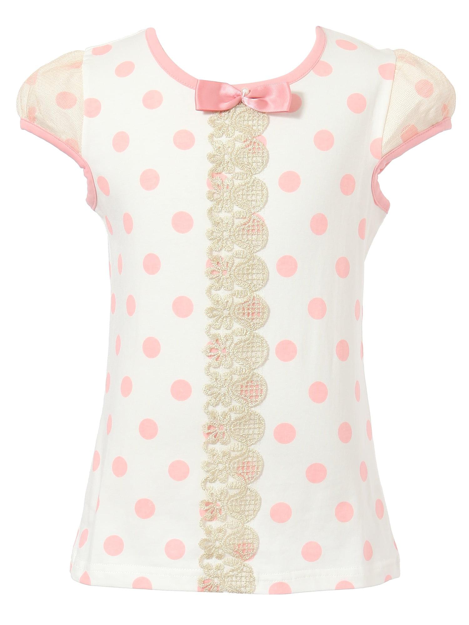 Richie House Girls' Polka Dot Short Sleeve T-shirt with Bow RH1633
