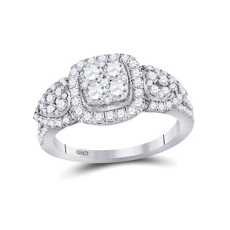 10kt White Gold Womens Round Diamond Square Halo Cluster Ring 1-1/4 Cttw - image 4 of 4