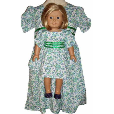 Matching Girls and Doll Blue Green Flower Dress Size 7