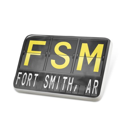 Porcelein Pin FSM Airport Code for Fort Smith, AR Lapel Badge – NEONBLOND ()