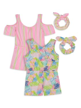 Limited Too Girls Printed Knit Rompers with Scrunchie, 2-Pack, Sizes 4-12