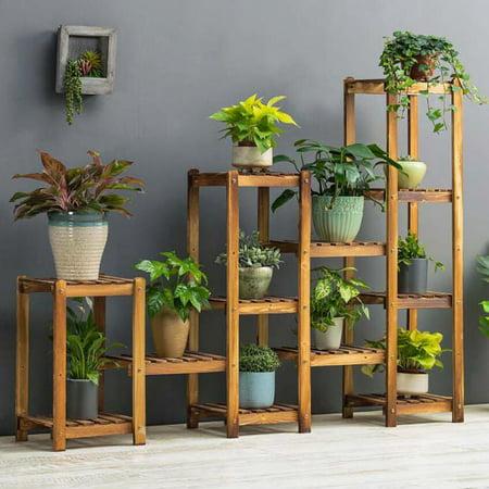 flower rack plant stand multi wood shelves display shelf indoor outdoor yard garden patio. Black Bedroom Furniture Sets. Home Design Ideas