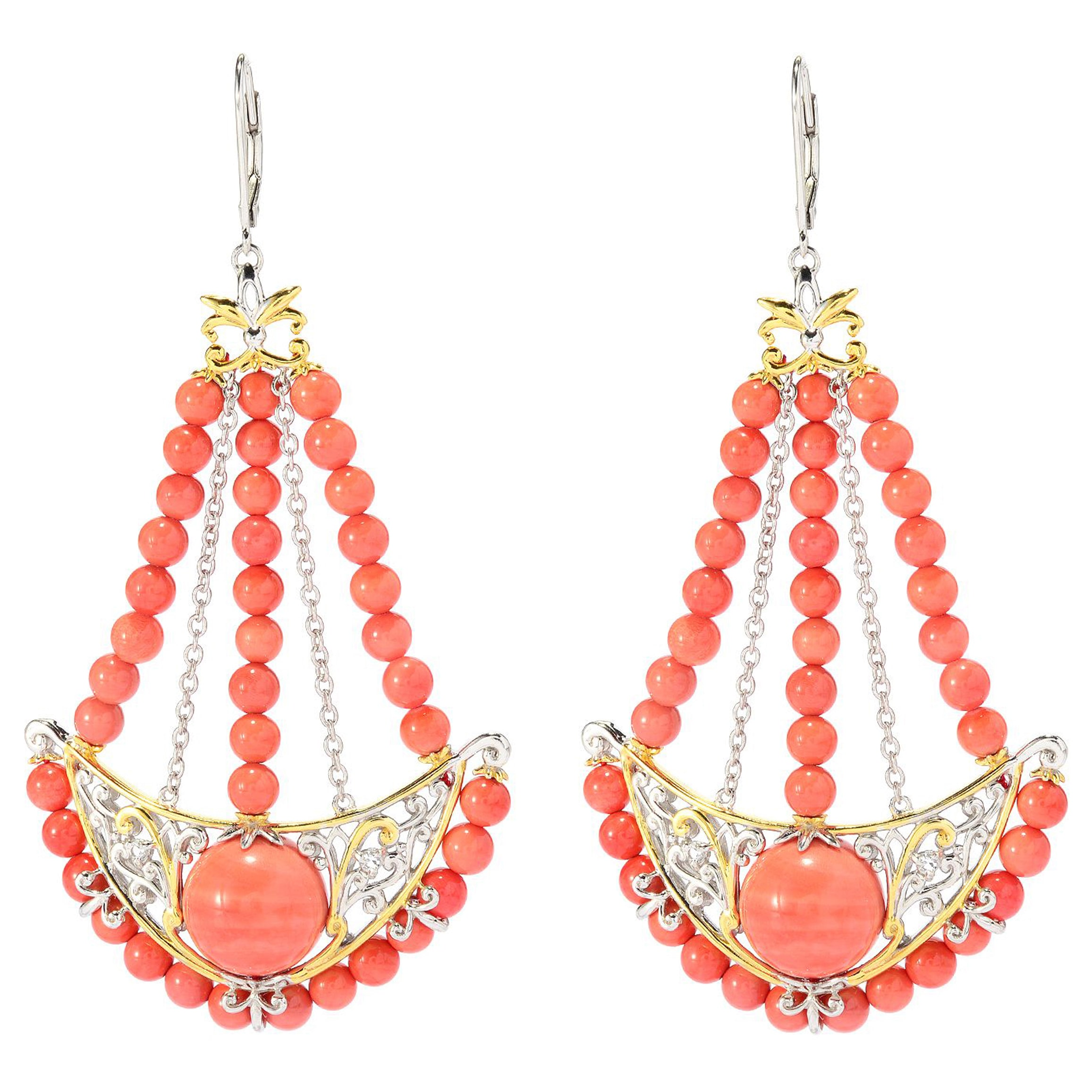Michael Valitutti Two-tone Salmon Coral and Dark Orange Sapphire Earrings by Overstock