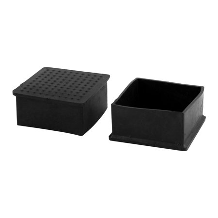 Home Rubber Square Anti Slip Chair Furniture Foot Cover Black 60 x 60mm 4 Pcs - image 1 de 2