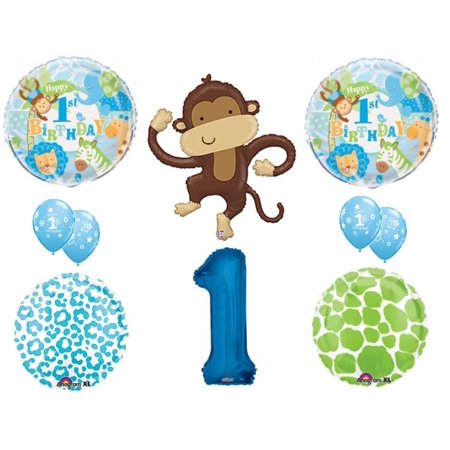 1ST Birthday SAFARI Elephant Party Balloons Decoration Supplies First Jungle - Jungle Safari Balloons