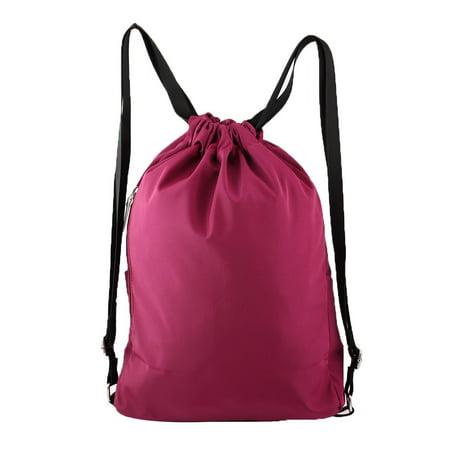 Travel Swimming Casual Pack Water Resistant Bag Drawstring Backpack Fuchsia - image 5 de 6