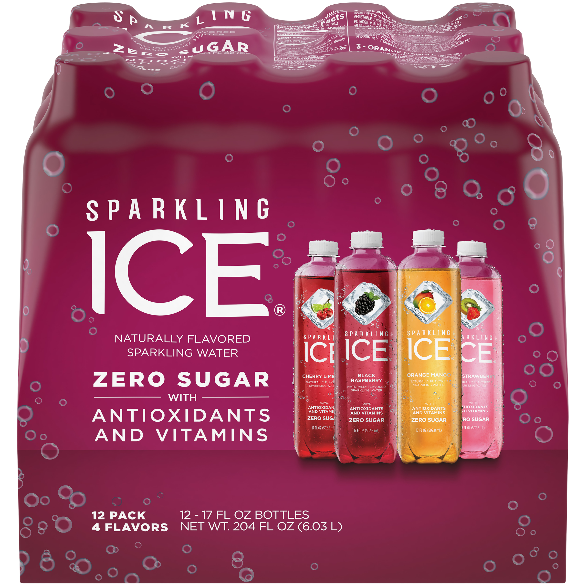 Sparkling Ice Variety Pack, 17 Fl Oz, 12 Count (Kiwi Strawberry, Orange Mango, Cherry Limeade, Black Raspberry)