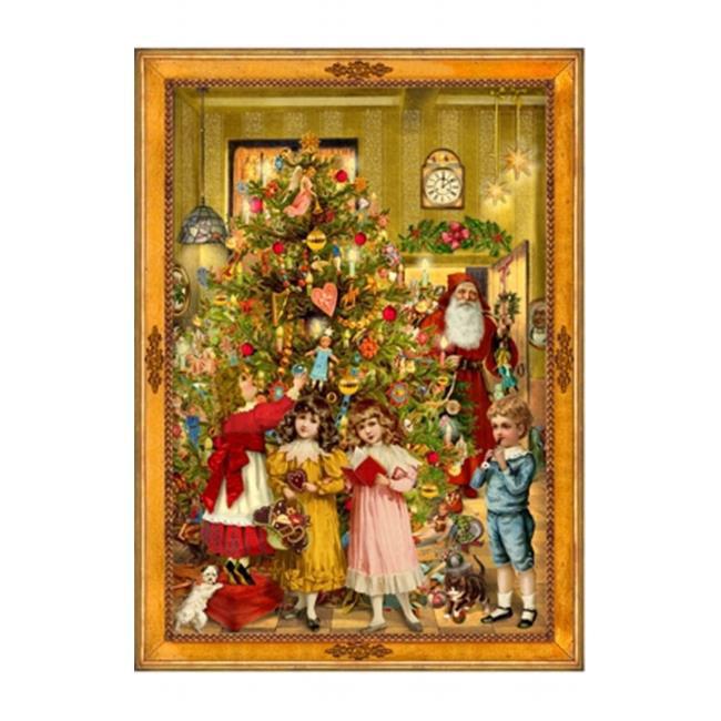 "Sellmer Advent Christmas Victorian style Christmas Tree with Santa Calendar Card 14""""H x 10.5""""W x .1""""D"