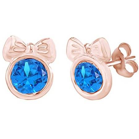 Round Shape Simulated Blue Topaz Minnie Mouse Bow Stud Earrings 14K Rose Gold Over Sterling Silver