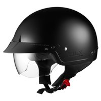 GLX Cruiser Scooter Motorcycle Half Helmet DOT Approved + 2 Retractable Visors(S)
