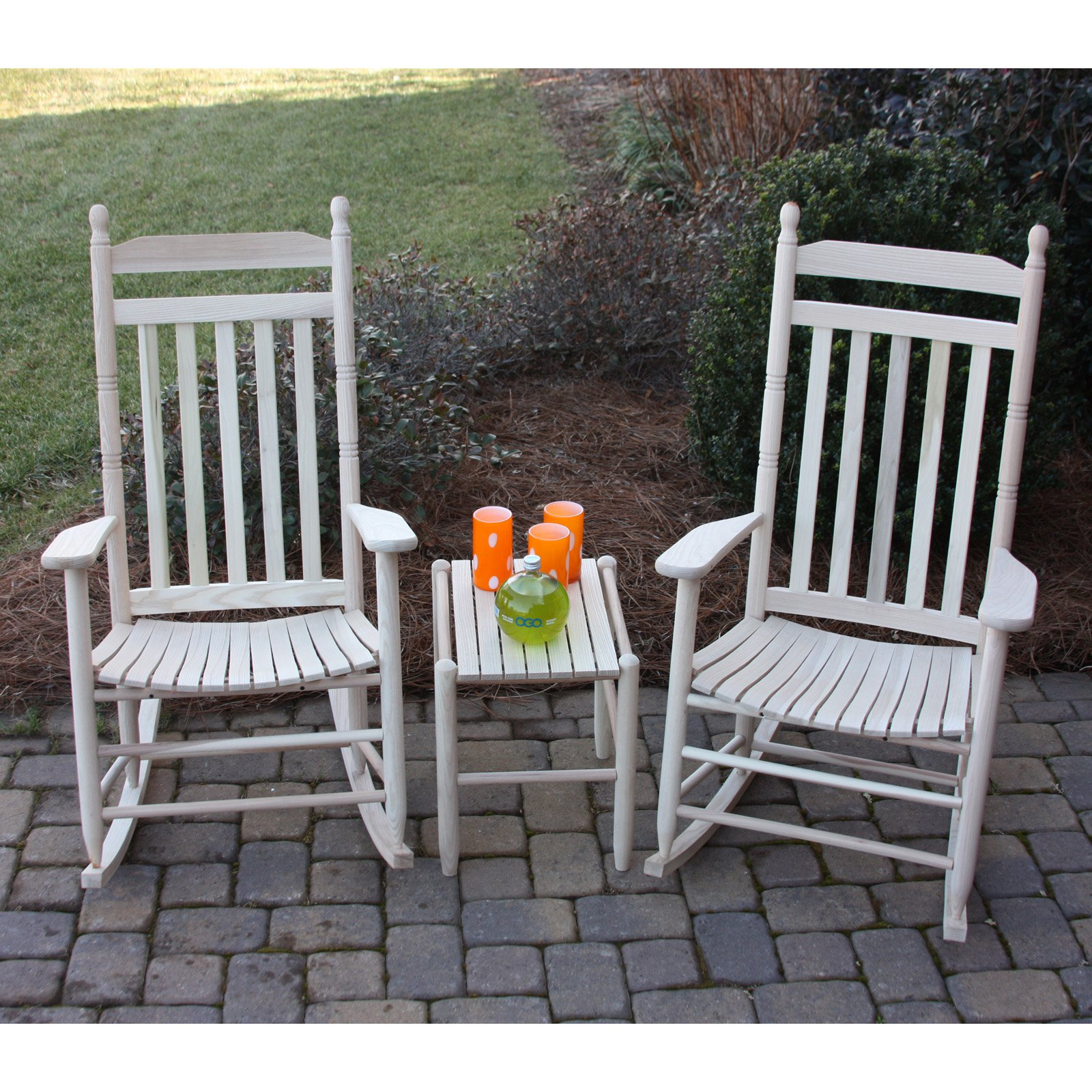 Dixie Seating Company 3 pc. Rocking Chair Set with Side Table - Unfinished
