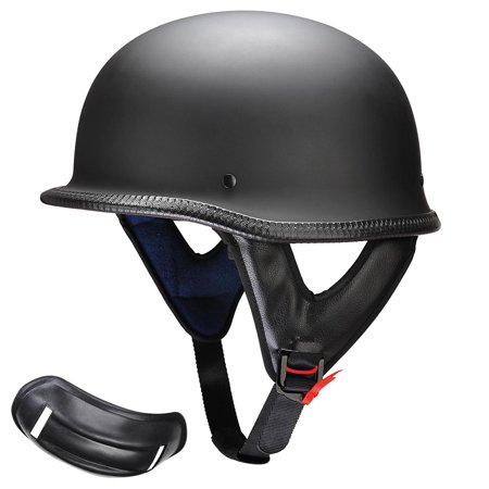 Yescom DOT German Style Motorcycle Helmet Half Open Face Cruiser Chopper Biker Skull Cap Helmet Black M/L/XL