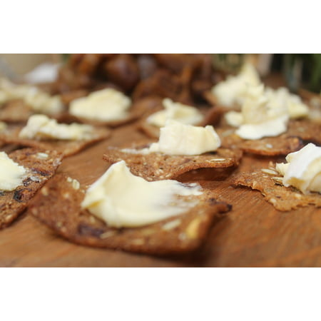 LAMINATED POSTER Food Brie Crackers Appetizer Cheese Canape Poster Print 24 x