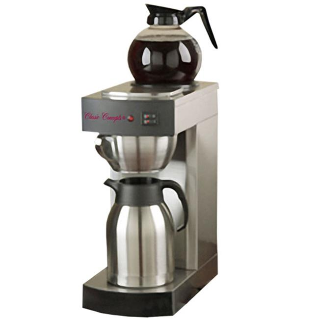 Classic Concepts RCB130 Stainless Steel Commercial Brewer -1 Warmer, 12 Cup with Decanter & 1 Stainless Steel Thermal Server