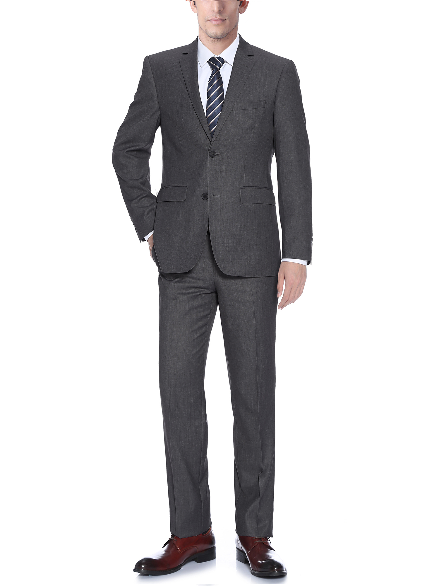 Barzetti Men's Dark Grey Classic Fit Italian Styled Two Piece Suit
