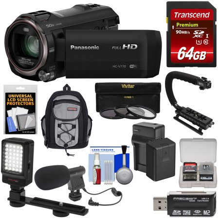 Panasonic HC-V770 Wireless Twin Recording Wi-Fi HD Video Camera Camcorder + 64GB + Battery/Charger + Backpack + Filters + LED Light + Mic + Stabilizer - Wall Stabilizer Kit