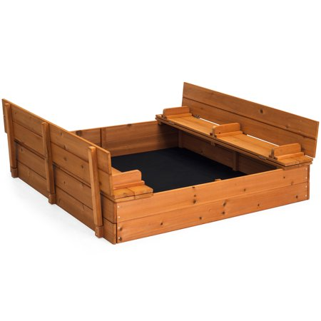 Best Choice Products 47x47in Kids Large Square Wooden Outdoor Play Cedar Sandbox w/ Sand Screen, 2 Foldable Bench Seats -