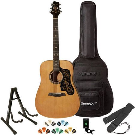 String Natural Finish Dreadnought Guitar (Sawtooth Acoustic Guitar with Padded Case, Tuner, Stand, Strap & Picks - Dreadnought Folk Guitar )