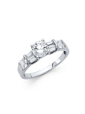 14K Solid White Gold Cubic Zirconia Solitaire with Baguette and Princess Cut Side Stones Engagement Ring, Size 5