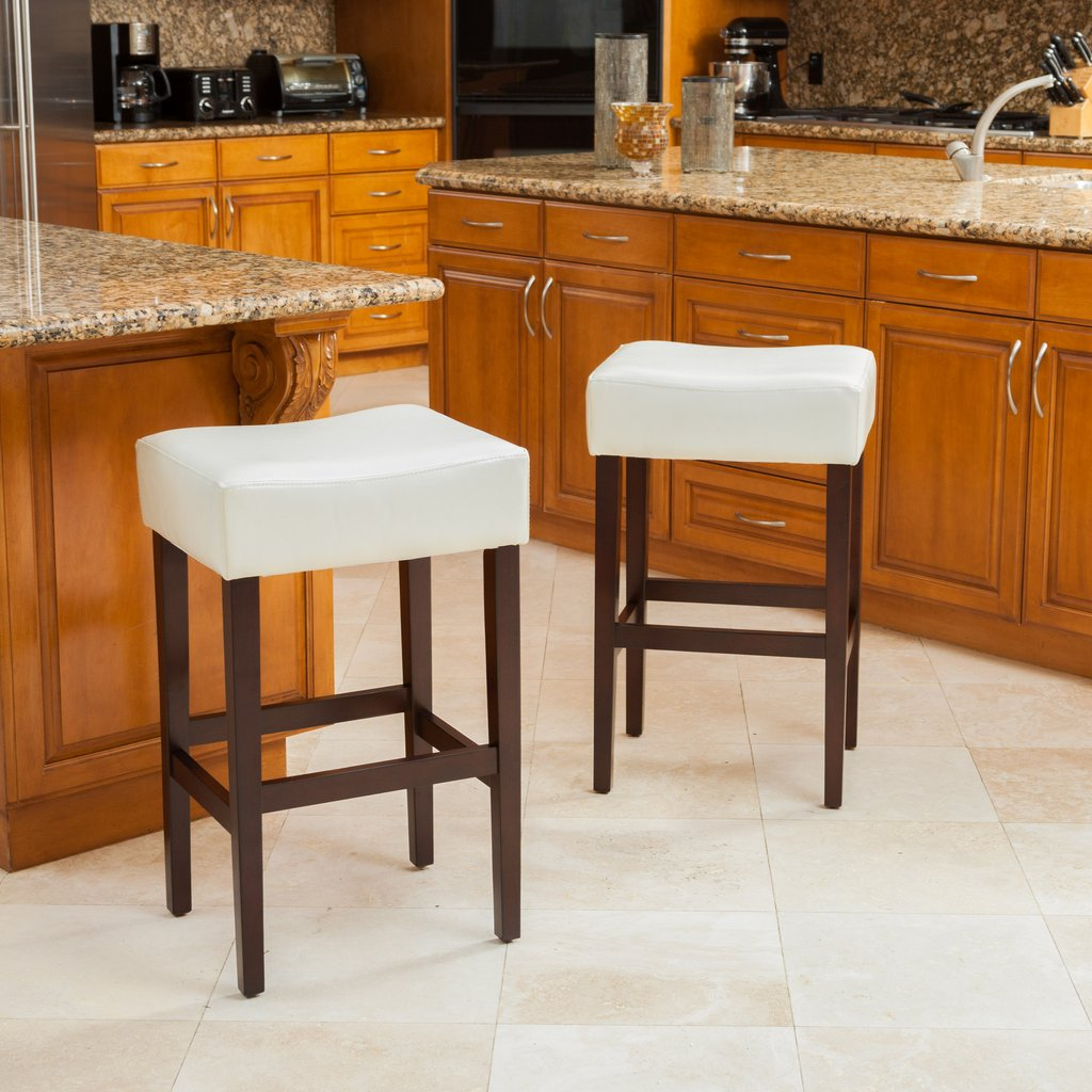 Whitney Ivory Leather Backless Bar Stools (Set of 2)