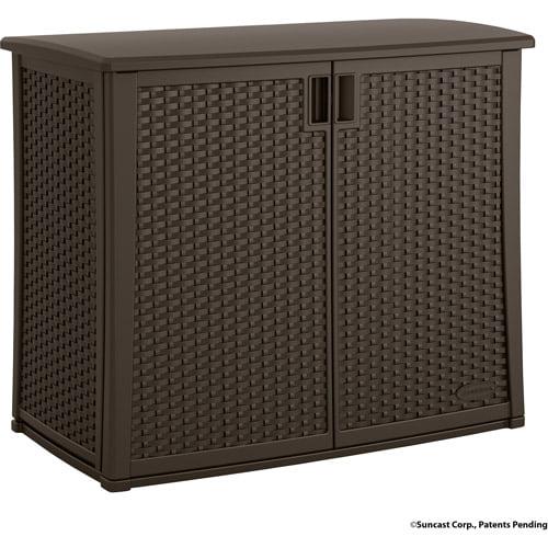 Suncast 97 Gallon Java Resin Wicker Outdoor Cabinet BMOC4100