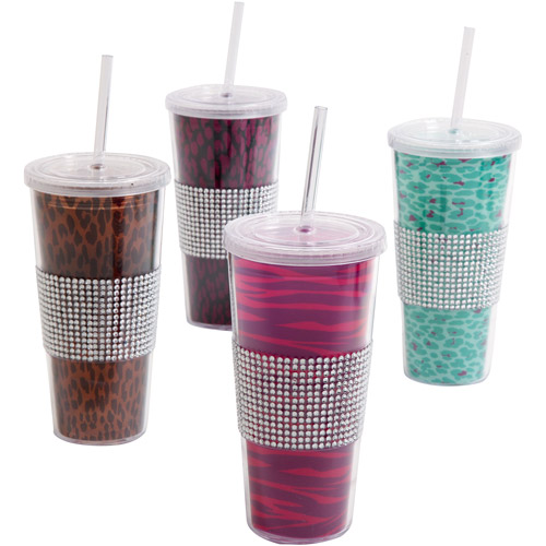 Gibson Home Safari Bling Assorted Designs 20-Ounce Tumbler Set, Set of 4